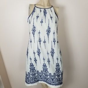 Just...Taylor white dress with blue embroidery